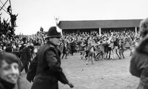 Hereford fans invade the pitch as they celebrate their 2-1 win in their 1972 replay against Newcastle United, perhaps the most famous third-round giant-killing in FA Cup history