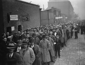 Supporters queuing outside Highbury for the 3rd round F A Cup tie against Bolton Wanderers, which Arsenal won 3-1