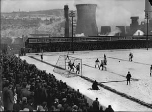 A packed crowd brave the cold at Valley Parade for the replay between Bradford City and Brentford. The match also finished in a draw, resulting in a second replay, which Brentford won 1-0 at Griffin Park
