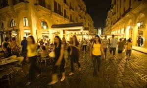 Beirut nightlife city centre around 2004