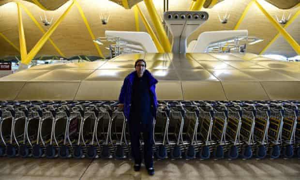 Homeless Valentin Giorgiev at Adolfo Suarez Barajas airport's terminal four in Madrid