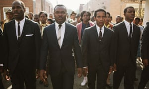 Colman Domingo as Ralph Abernathy, David Oyelowo as Dr. Martin Luther King, Jr., Andre Holland as Andrew Young, and Stephan James as John Lewis in a scene from the Selma