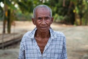 Portrait of an 87-year-old farmer in Bago district, Bago region, Burma