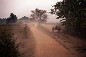 Rural scene in Paung township, Mon state, Burma, showing an ox and cart on the road at dusk