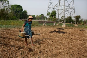 A farmer working in a field with an electric pylon in the middle distance, Dwar Ther Hle village, Burma
