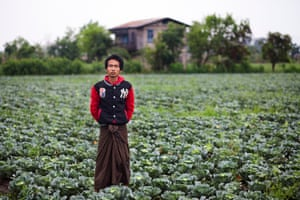 USK, a 26-year old farmer, from Taung Lay Lone village, standing in one of his fields, Burma
