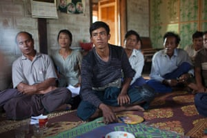 Farmers at a meeting in a house in Taunggyi district, Shan state, Burma