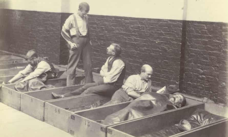 'Coffin beds' at a Salvation Army shelter in London 1900
