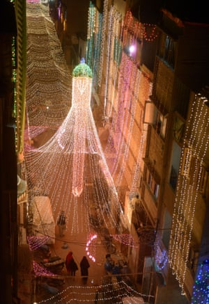 Karachi, Pakistan Streets are decorated with lights to celebrate the birthday of Prophet Mohammed which falls on January 4, 2015