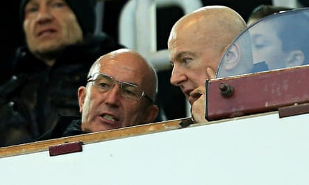West Bromwich Albion manager Tony Pulis with the club chairman Jeremy Peace