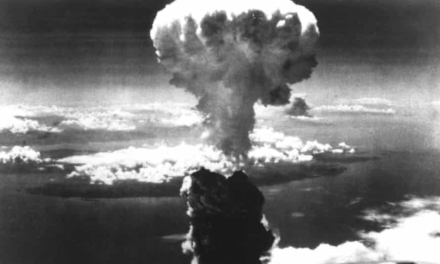 A mushroom cloud rises over Nagasaki after an atomic bomb was dropped in 1945