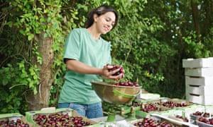 A woman weighs cherries