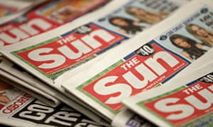 The front covers of copies of the Sun