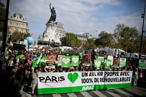 The crowd walks at People's Climate March Paris, on Sunday, September 21, 2014 in Paris France.An estimated 25,000 people took part in the march, which was part of the largest global climate mobilisation in history with 580,000 people participating in 2646 events in 156 countries.