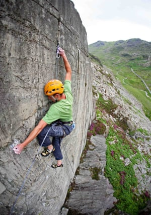 Jack Geldard tackles a difficult route in the Llanberis Pass, Wales