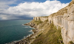 Cliffs on the west side of the Isle of Portland, Dorset, UK