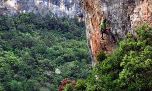Polish climber Aga Banazec at Siurana, Spain