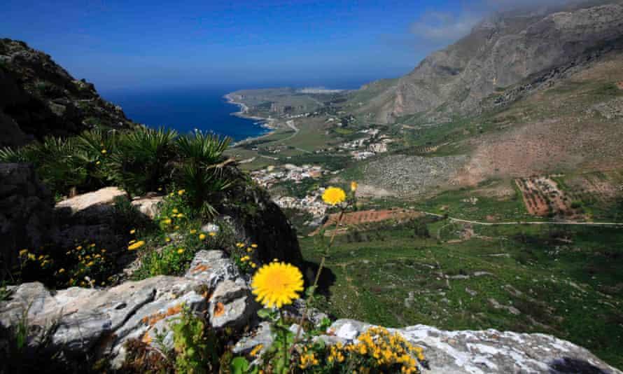 Sicily's San Vito Lo Capo peninsula seen from the slopes of Montegallo