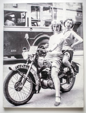 Daisy Jacobs' grandmother Eileen, left, with a friend on a motor bike, circa 1950.