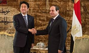 Japanese prime minister Shinzo Abe and Egyptian president Abdel Fatah al-Sisi