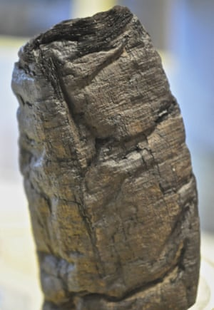 Charred remains of an ancient papyrus scroll from Herculaneum