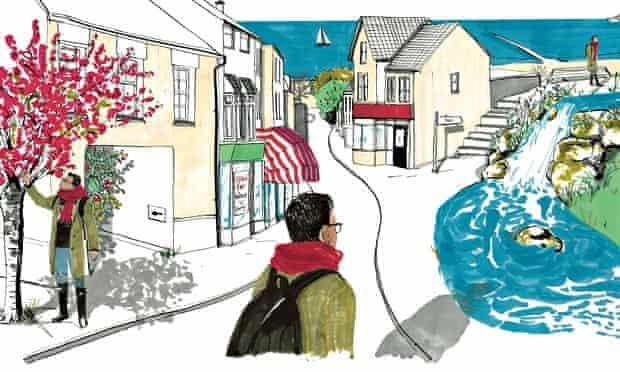 Illustration of a man walking through a coastal village