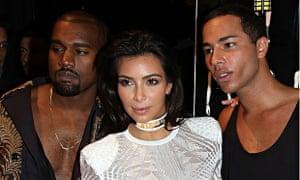 Kanye West, Kim Kardashian and Olivier Rousteing