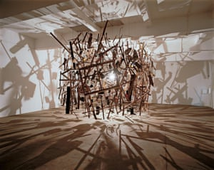 Cornelia Parker's 1991 work Cold Dark Matter, An Exploded View.