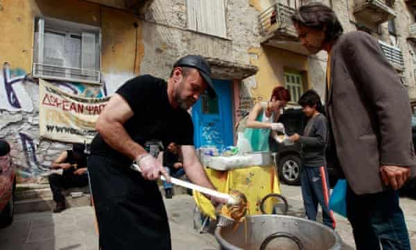 A soup kitchen in Athens.
