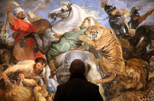 The Tiger, Lion & Leopard Hunt by Rubens at the Royal Academy, London.