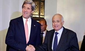 Nabil el-Araby and John Kerry