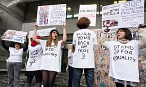 Campaigners from Object and Turn Your Back On Page 3 protest over the Sun's daily photos of topless
