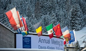 Flags outside the World Economic Forum at Davos