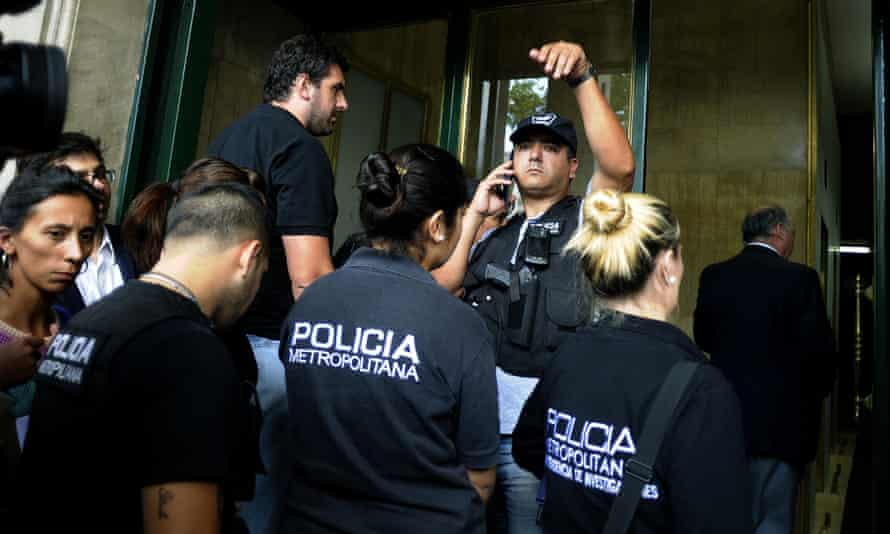 Police at the offices of Argentine prosecutor Alberto Nisman in Buenos Aires.