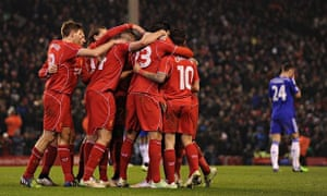 Liverpool celebrate their goal against Chelsea