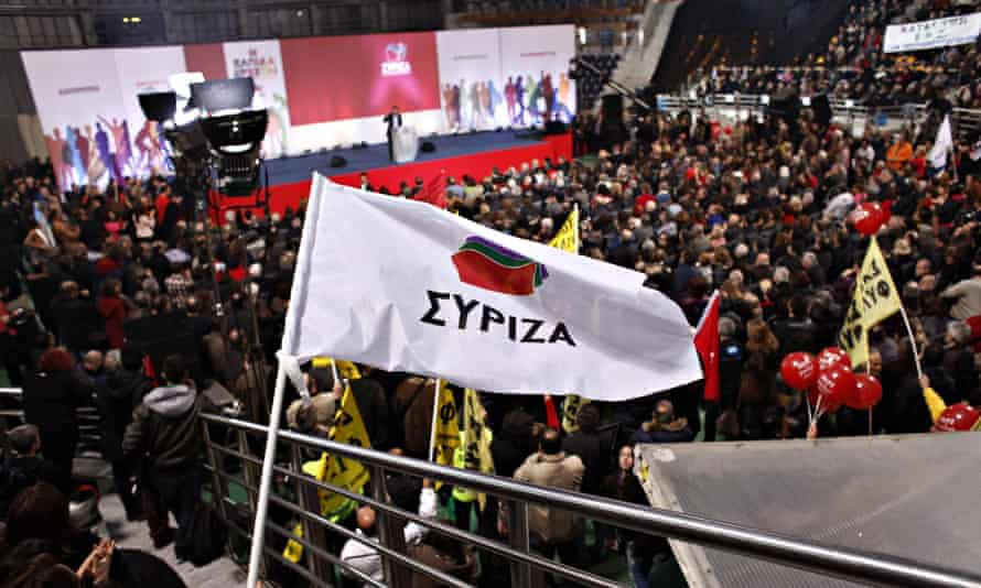 Syriza leader Alexis Tsipras addresses  supporters during an election rally in Thessaloniki.