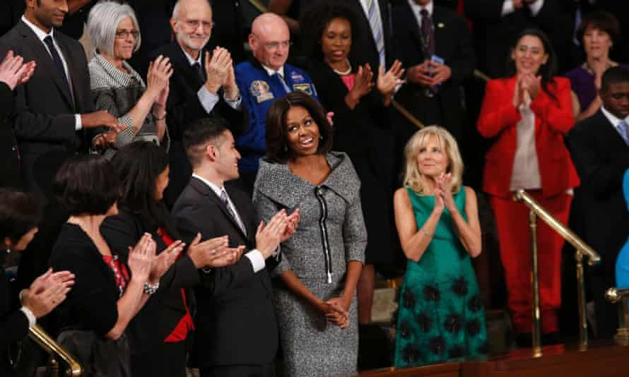 First lady Michelle Obama wore a tweed Michael Kors suit to the state of the Union