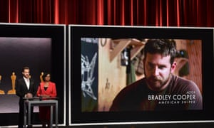 Chris Pine and Cheryl Boone Isaacs announcing Bradley Cooper's best actor nomination at last week's Oscar announcements.