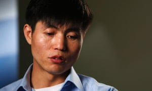 Human rights activist Shin Dong-hyuk speaks during an interview in Washington in December 2013.
