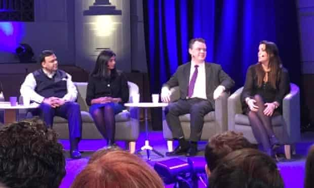 Arvind Gupta, Vijaya Gadde, Rick Falkvinge and Emma Mulqueeny at the BBC's democracy and technology debate.