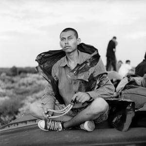 Salvadoran immigrant with sling shot, Oaxaca