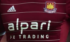 Alpari FX Trading branding on a West Ham shirt.