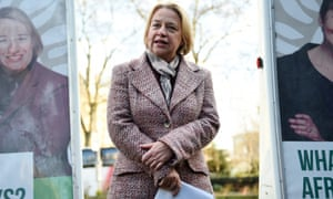 Green Party leader Natalie Bennett unveils the  general election campaign poster in London