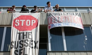 Students occupy a building on the Sussex University campus as part of a protest against the privatisation of campus services.