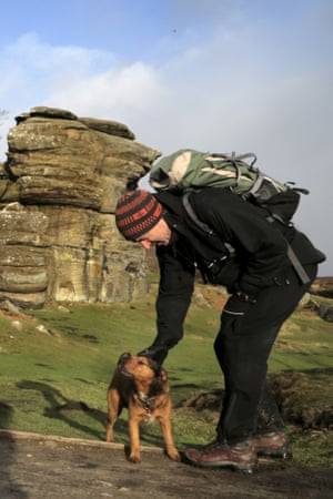 Wilf sniffs the air  on Brimham Rocks.