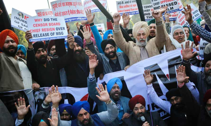 Demonstrators protest against the impending release of MSG: The Messenger of God, the release of which was approved by an appeals board, sparking a crisis in India's censorship organisation.