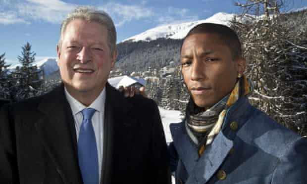 Al Gore and Pharrell Williams at the World Economic Forum in Davos, Switzerland