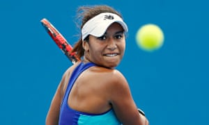 Heather Watson in action at the Australian Open.