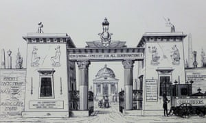Augustus Pugin's satirical sketch mocks the clashing architectural styles of London's new commercial cemeteries.
