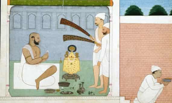 Mughal Painting of Raja Balwant Singh Performing Puja Jammu Pahari c1750